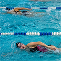 Nerinx Hall swimmers work as a powerful unit