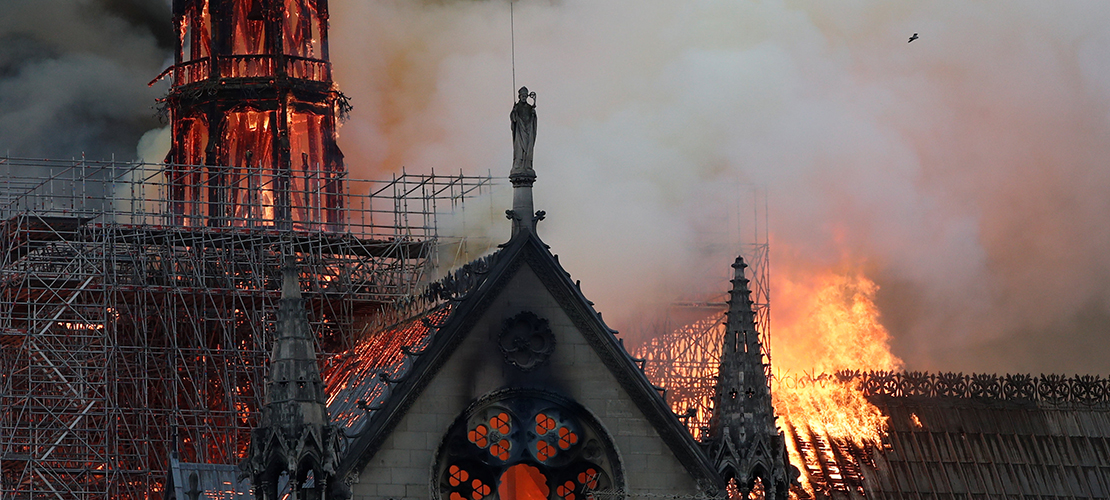 Historic Notre Dame Cathedral in Paris engulfed in flames
