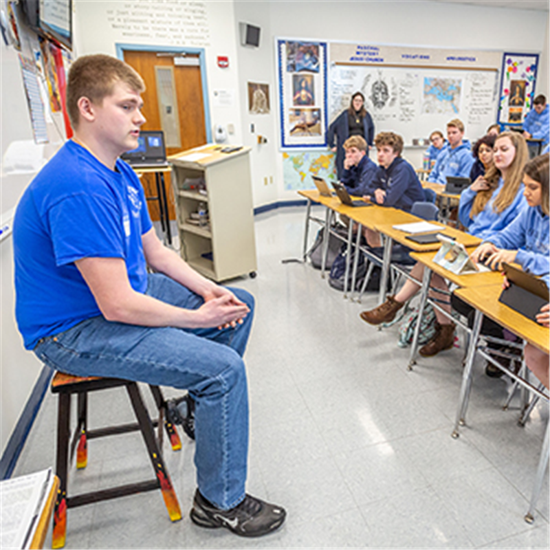 Sitting in the 'hot seat' is welcome opportunity for St. Dominic High students who are learning to become apologists