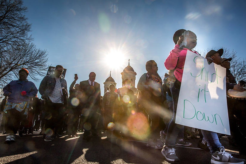 About 800 people gathered together at Sts. Teresa and Bridget Catholic Church in the city's Jeff-Vander-Lou neighborhood to rally in an effort to reclaim open air drug markets on Feb. 25.