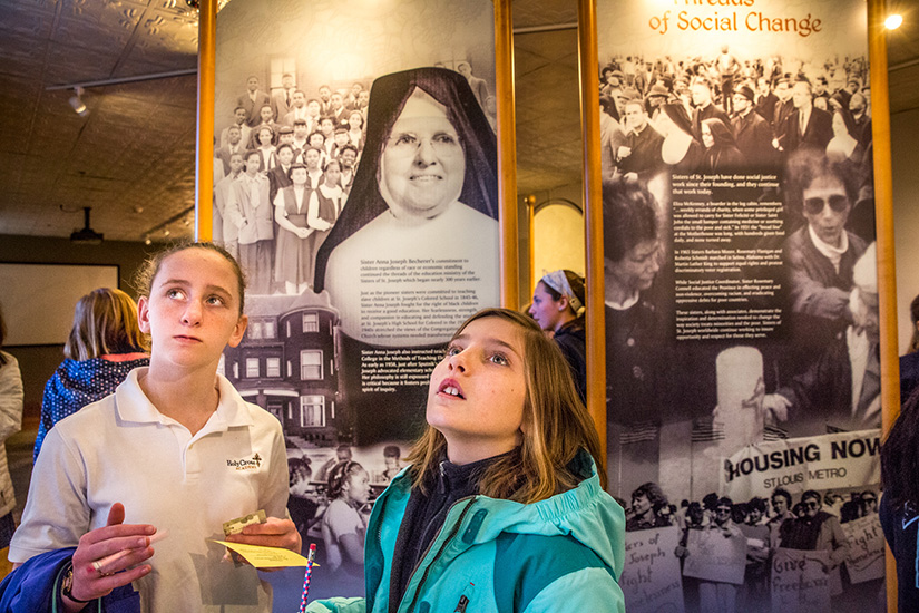 "Annalise Crow, left, and Claire Mitchell described the Sisters of St. Joseph of Carondelet as ""super sweet"" and welcoming on a visit to their Motherhouse on Feb. 2."