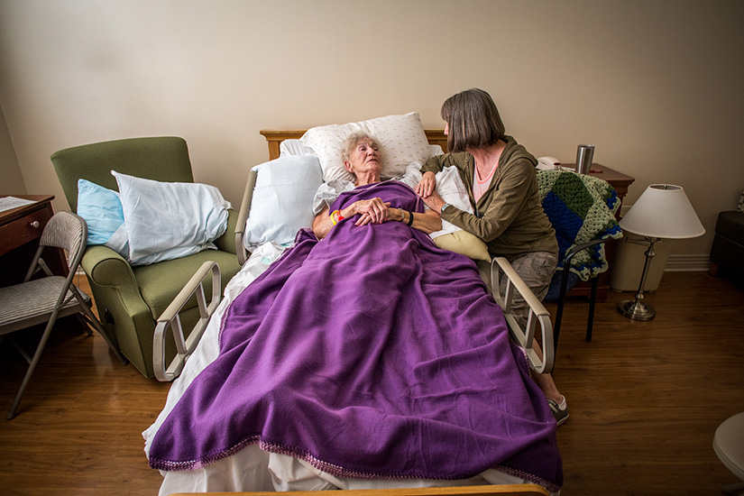 Jeanette Hillenkamp, a mother of three is now living at deGreeff Hospice House where she finds comfort, quiet and peace. Her daughters Bobbie Wieman (pictured), Cheryl Blume and Julie Hetherington have been keeping vigil at her bedside.