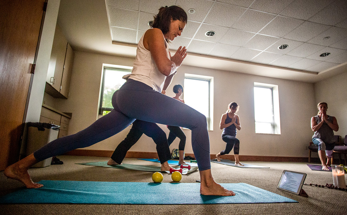 Katie Meyer instructed a SoulCore class at St. Catherine Laboure Parish in Sappington on July 26. Meyer has led sessions of the nationwide Catholic exercise and spirituality program since last year.