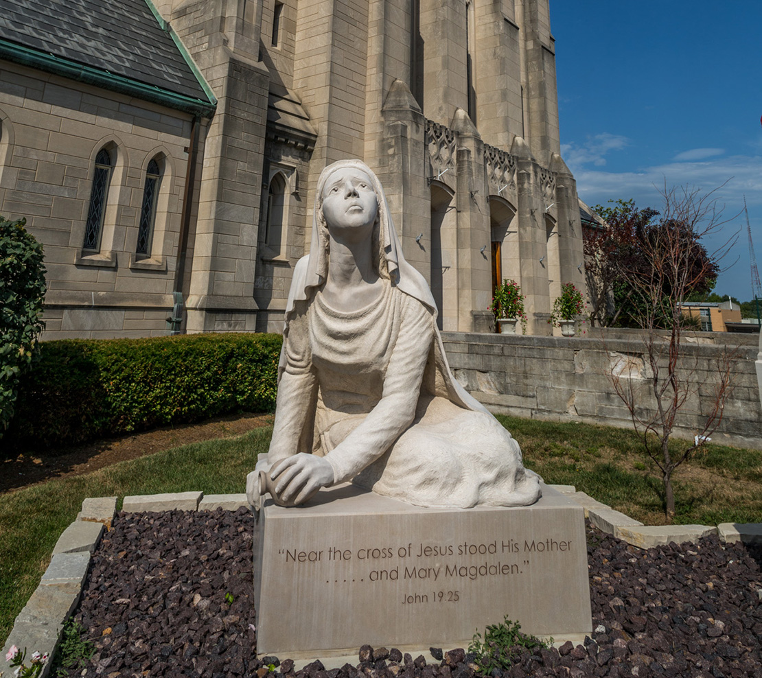 "The sculpture of the ""Apostle to the Apostles"" was installed last year in front of the church on Manchester Road at Brentwood Boulevard. The design is taken from the crucifixion scene in the church. A St. Louis artist, Abraham Mohler, sculpted it from a block of limestone. The 10,000-pound statue honors the power of Christ working through St. Mary Magdalen."