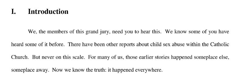 The first paragraph from the Pennsylvania grand jury report issued Aug. 14.