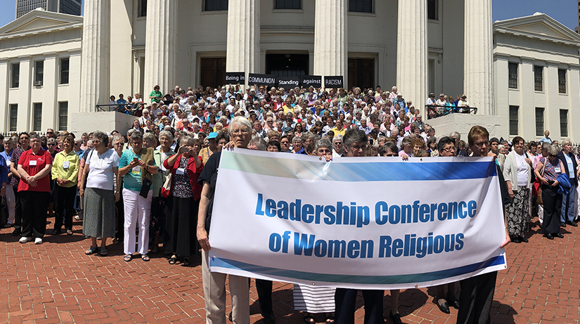 "More than 700 sisters from the Leadership Conference of Women Religious stood on the steps of the Old Courthouse Downtown ""in communion against racism,"" on Aug. 10. LCWR held its annual assembly Aug. 7-10 in St. Louis."