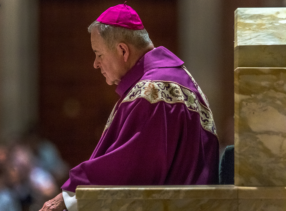 Archbishop Robert J. Carlson prayed at a Mass of Reparation Sept. 7 at the Cathedral Basilica of Saint Louis.