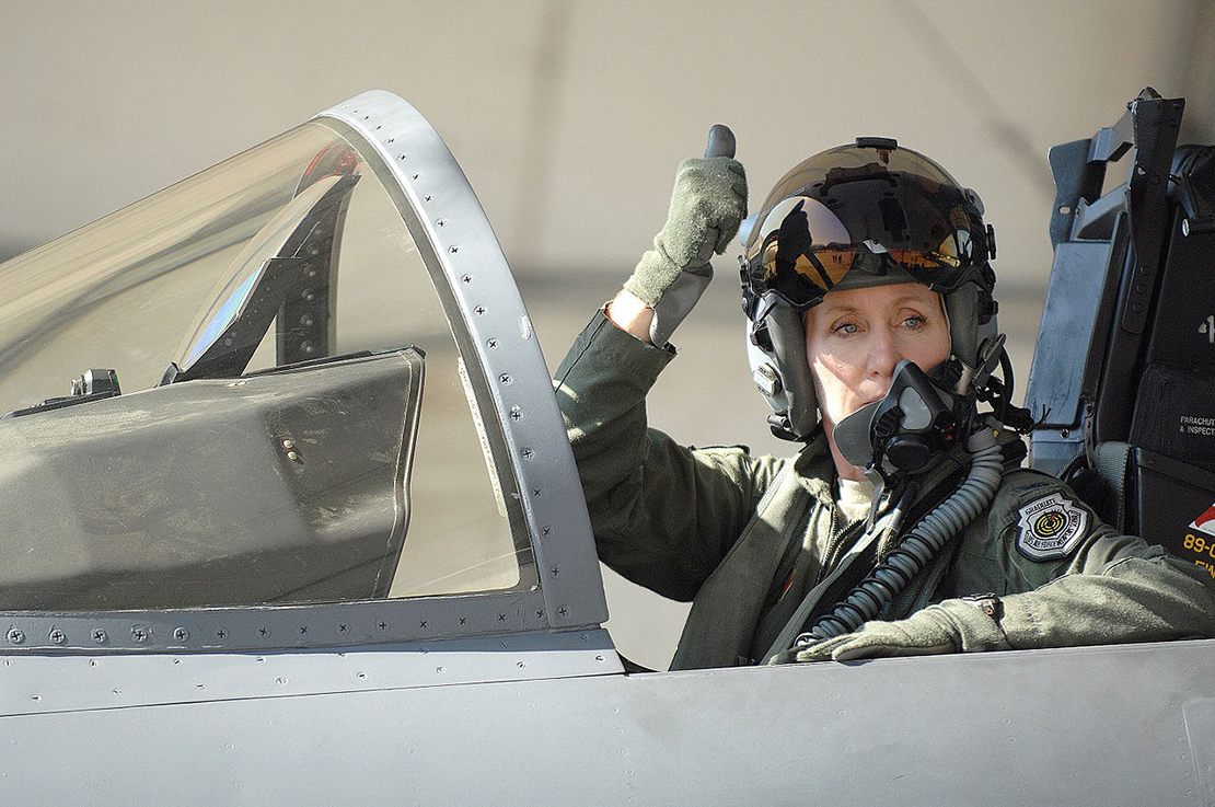 U.S. Air Force Brig. Gen. Jeannie Leavitt signaled her crew chief before taking flight at Seymour Johnson Air Force Base, N.C., in 2013 when she served as 4th Fighter Wing commander. Leavitt, a Bishop DuBourg High School graduate, will give the keynote address at the opening of the Soldiers Memorial Military Museum in Downtown St. Louis.
