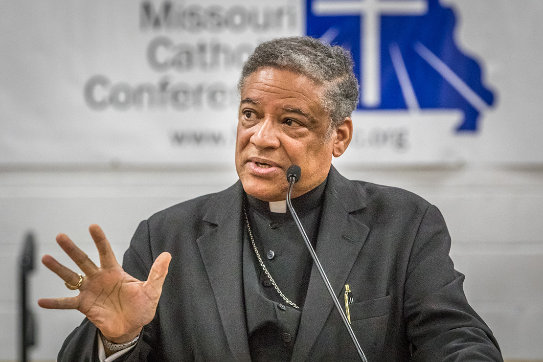 Auxiliary Bishop Joseph Perry of the Archdiocese of Chicago was the keynote speaker at the Missouri Catholic Conference Annual Assembly at Helias High School in Jefferson City on Oct. 6. He spoke about Pope Francis' continual calls to go to the peripheries.