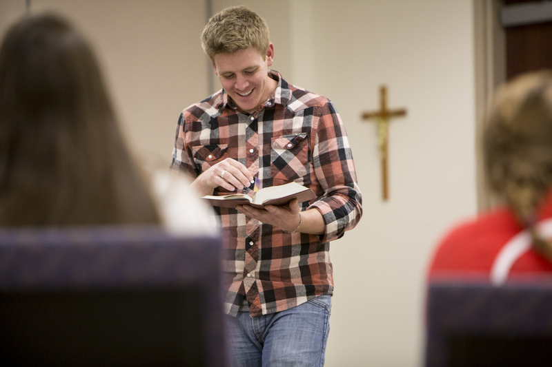 Youth minister Pete Buncher led a youth group April 11 at Assumption Parish in Mattese