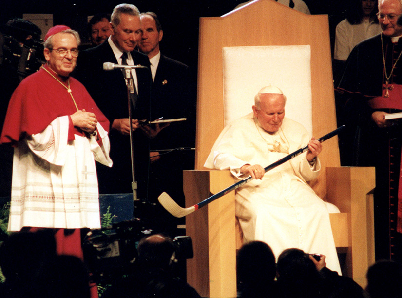 Pope John Paul II was presented with a hockey stick at the papal youth rally at Kiel Center in 1999.