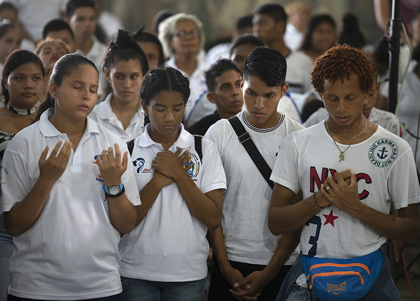 Young people participated in a vigil at the Church of Christ the Redeemer April 22 outside Panama City. World Youth Day 2019 will be celebrated Jan. 22-27 in Panama City.