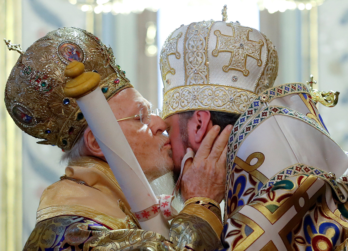Ecumenical Patriarch Bartholomew of Constantinople kissed Metropolitan Epiphanius, head of the Orthodox Church of Ukraine, Jan. 6, as he handed him a decree granting the Orthodox Church of Ukraine independence, at the Patriarchal Cathedral of St. George in Istanbul, Turkey.
