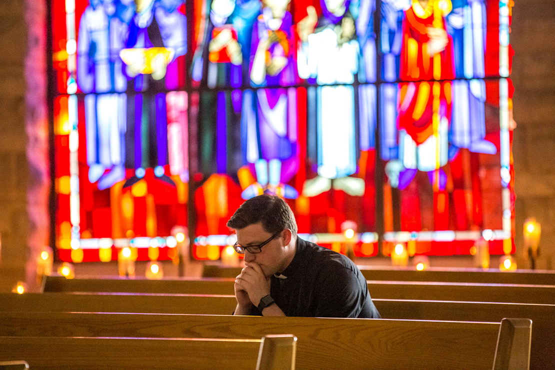 Transitional Deacon Patrick Russell has been spending the final year of his seminary studies assisting St. Joseph Parish in Cottleville. He prayed in the church on Feb. 5. He attended a discernment retreat before entering the seminary.