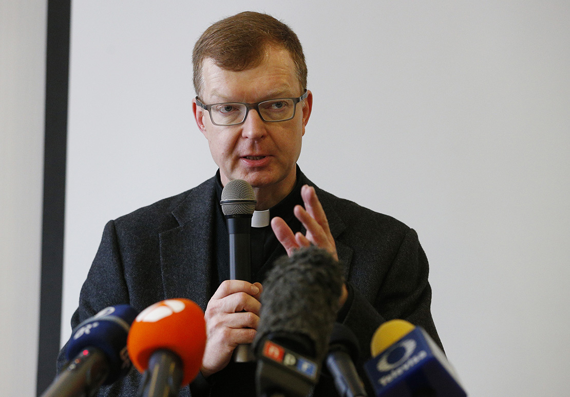 Jesuit Father Hans Zollner, a professor of psychology and president of the Centre for Child Protection at the Pontifical Gregorian University in Rome, spoke at a briefing for journalists in Rome Feb. 12, 2019. The briefing was to prepare for the Feb. 21-24 Vatican meeting on the protection of minors in the Church. Father Zollner is on the organizing committee for the meeting.
