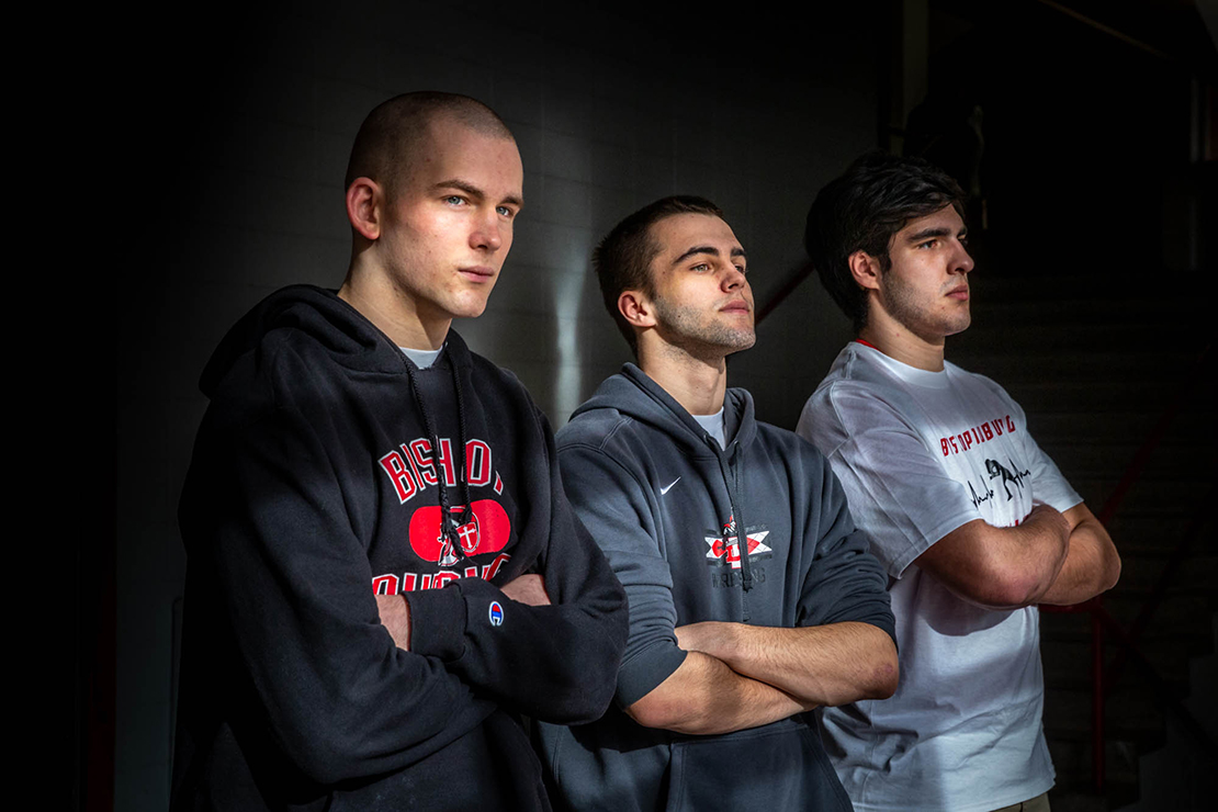 Bishop DuBourg High School's wrestling program, in just its second year, sent three wrestlers to the state tournament, from left, Luke Enright, Grant Pawlak and Jacob Bader. The three had no experience wrestling before joining the team at DuBourg.
