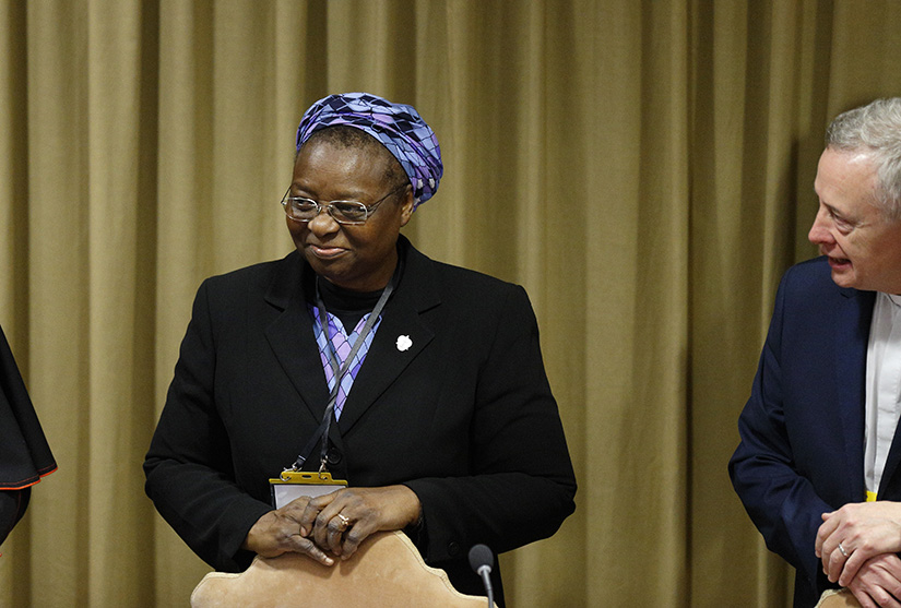 "Nigerian Sister Veronica Openibo, congregational leader of the Society of the Holy Child Jesus, attended the third day of the meeting on the protection of minors in the church at the Vatican Feb. 23, 2019. Sister Openibo told the gathering that clerical sexual abuse ""has reduced the credibility of the church when transparency should the hallmark of mission as followers of Jesus Christ."""