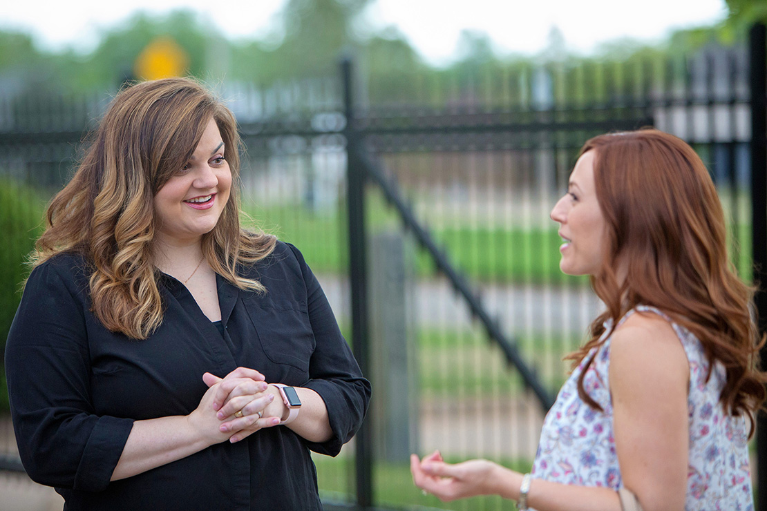 "Abby Johnson, left, talked with actress Ashley Bratcher, who plays her, on the set of the movie ""Unplanned."" The movie details the story of Johnson, a former Planned Parenthood administrator who quit that job to join the pro-life movement after her up-close interaction with abortion."