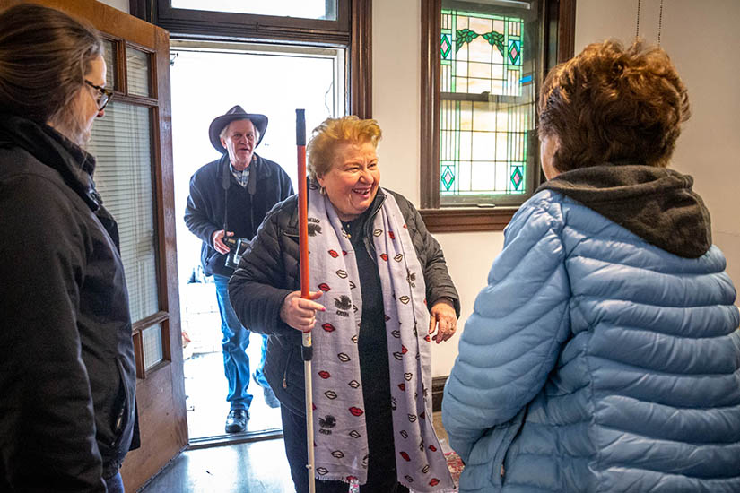 a586a3e5 Sister Mary Ann Nestel, CSJ, chairman of the housing initiative board  representing the Sisters of St. Joseph, spoke with fellow board member  Marie Kenyon, ...