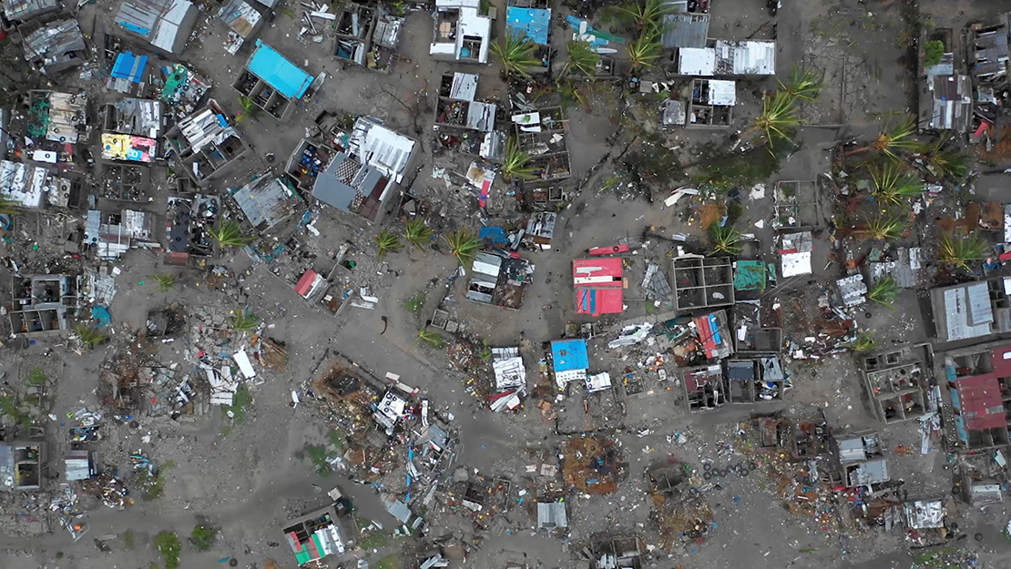 An aerial view taken March 19 shows destruction from Cyclone Idai in Beira, Mozambique. Hundreds were feared dead in Mozambique four days after a cyclone slammed into the country, submerging entire villages and leaving bodies floating in the floodwaters, the nation's president said.
