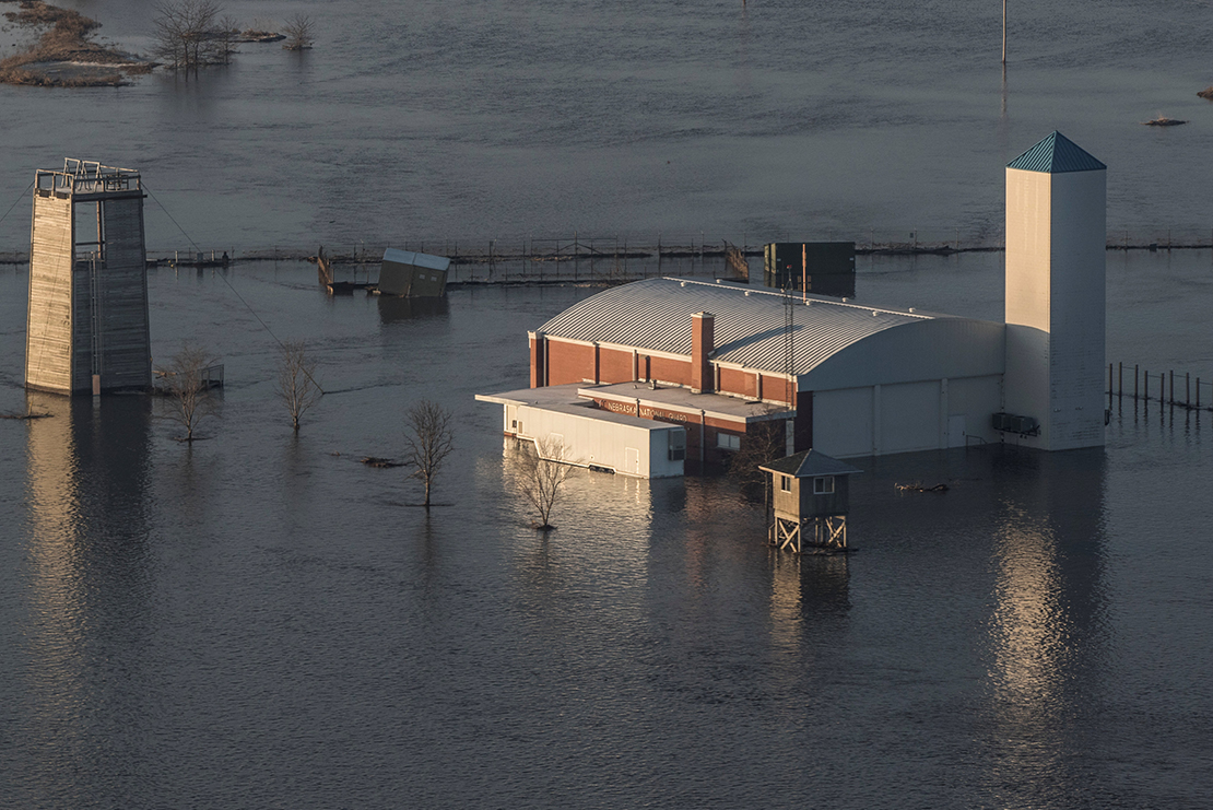 The flooded facility of the Camp Ashland Army National Guard in Ashland, Neb., is seen in this aerial photo March 17.