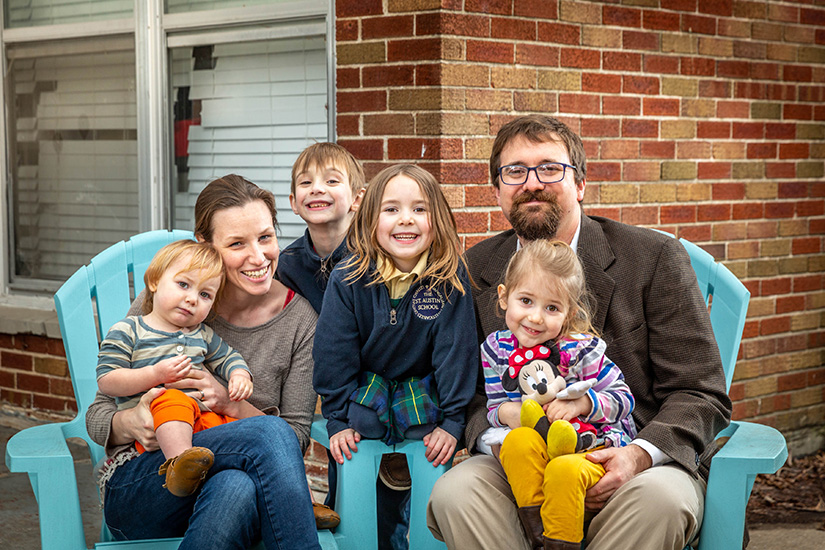 The Gelzer-Govatos family: parents Asher and Leslie and children Owen, 7, Violet, 6, Eliza, 3, and Edmund, 17 months.
