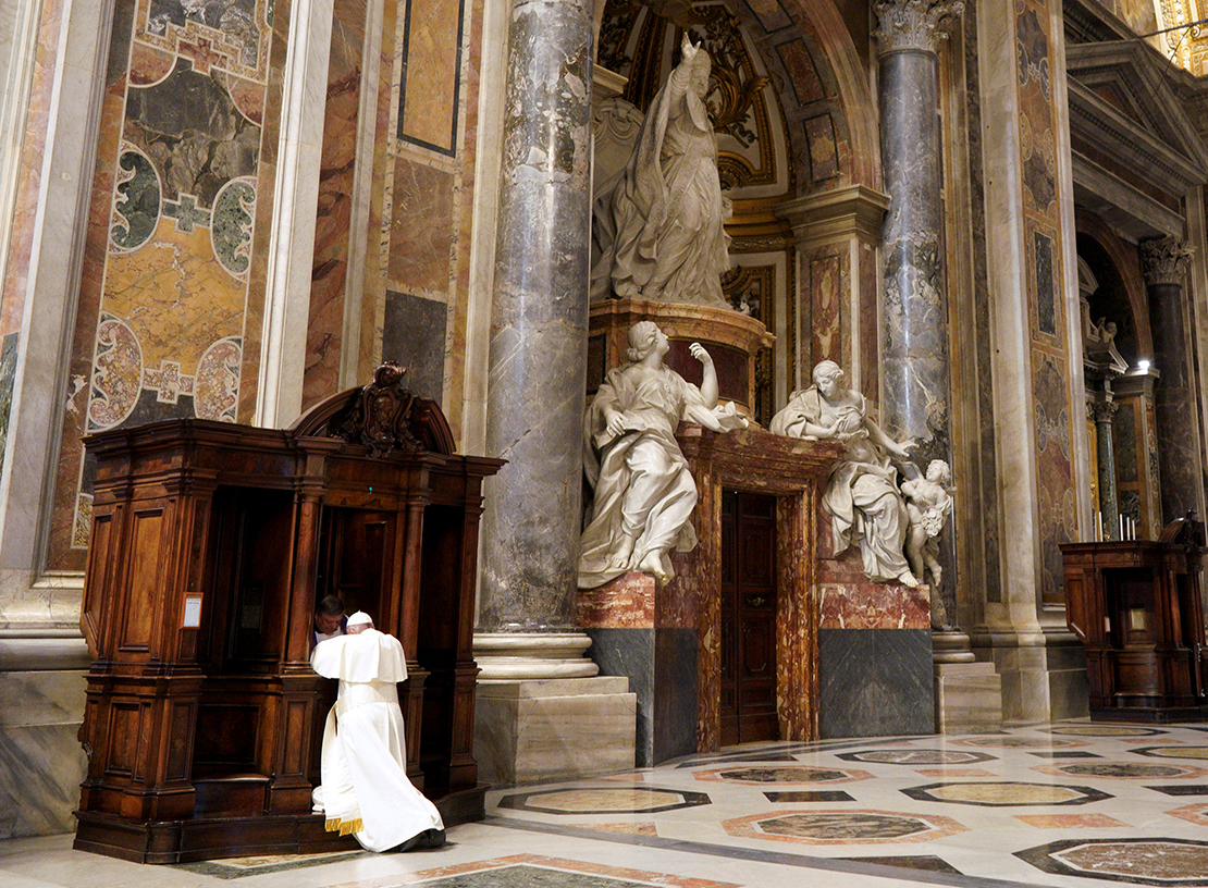 A priest heard Pope Francis' confession during a Lenten penance service in St. Peter's Basilica at the Vatican March 29. At the service, the pope said Jesus does not view sinners as transgressors who must be punished according to the law, but as people in need of hope and freedom from sin.