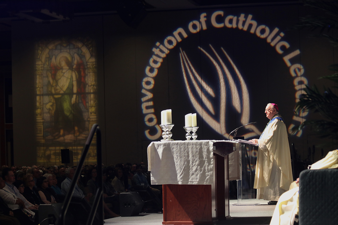 "Bishop Dennis J. Sullivan of Camden, N.J., addressed delegates at the diocese's ""Convocation of Catholic Leaders: The Joy of the Gospel"" in Atlantic City March 25."