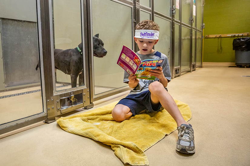 First-grader Evan Adrian read to Winston at the St. Louis County Pet Adoption Center in Olivette April 11. Evan and classmates from Ste. Genevieve du Bois School in Warson Woods volunteered at the center for a school service day.