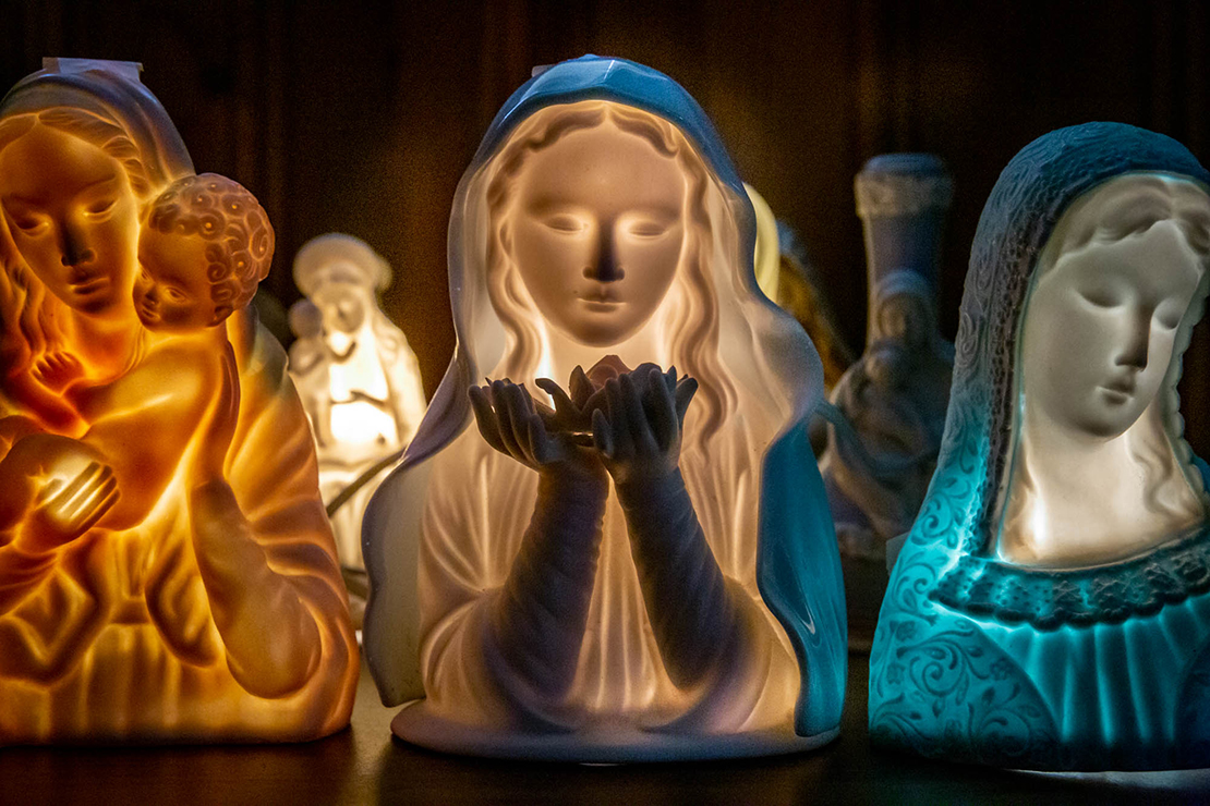 The World Apostolate of Fatima inherited a collection of statues of Mary (including Marian night lights) that will be displayed at the St. Louis Division of the World Apostolate of Fatima building.