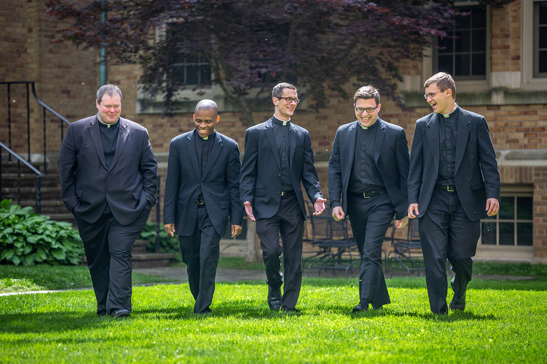 From left, Transitional Deacons Mark Madden, Samuel Inameti, George Staley, Patrick Russell and Tony Ritter will be ordained to the priesthood for the Archdiocese of St. Louis May 25. Also being ordained are Transitional Deacons Andrew Auer and Stephen Schumacher, who are studying in Rome.
