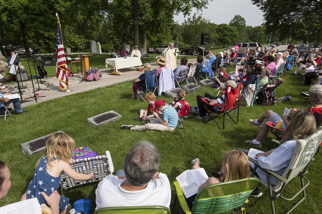 Msgr. Jack Costello celebrated a Memorial Day Mass in St. Peter Cemetery at St. Peter Parish in Kirkwood. The Memorial Day ceremony included taps, a moment of silence and reading about members of St. Peter Parish who have died in the military.