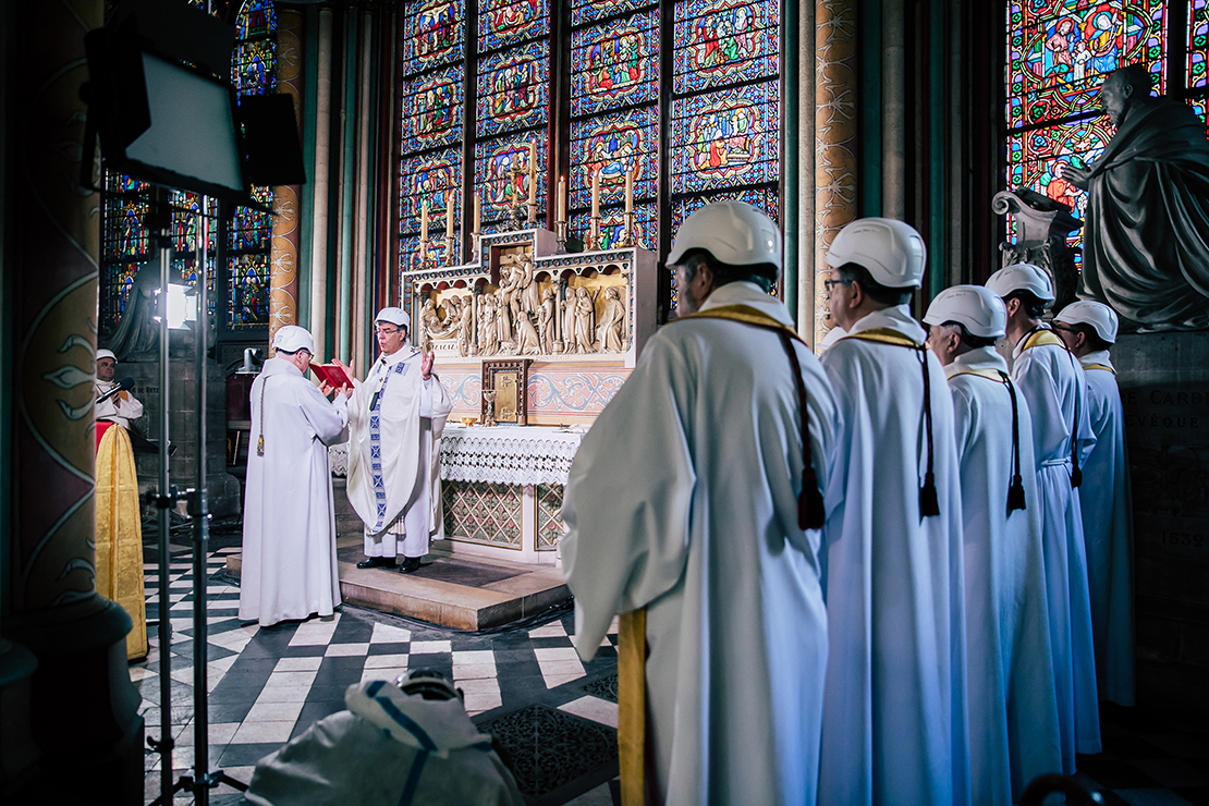 Archbishop Michel Aupetit of Paris celebrated Mass in the Chapel of the Virgin inside Notre Dame Cathedral in Paris June 15. It was the first Mass since a huge blaze devastated the landmark building April 15.