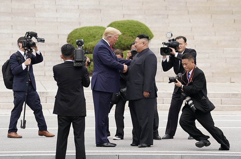 "U.S. President Donald Trump met with North Korean leader Kim Jong Un June 30 in Panmunjom, South Korea, at the demilitarized zone separating the two Koreas. After praying the Angelus with pilgrims gathered in St. Peter's Square June 30, Pope Francis called the historic meeting a ""good example of a culture of encounter."""