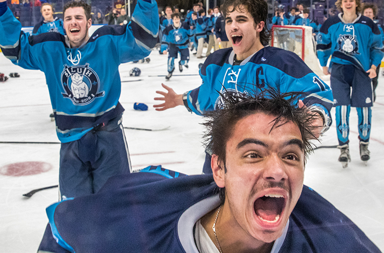 Steven Pawlow and teammates celebrated after the St. Louis University High School Junior Billikens brought home their first Mid-States Challenge Cup championship since 2013. SLUH defeated De Smet Jesuit High School 4-0 March 13 at Scottrade Center.