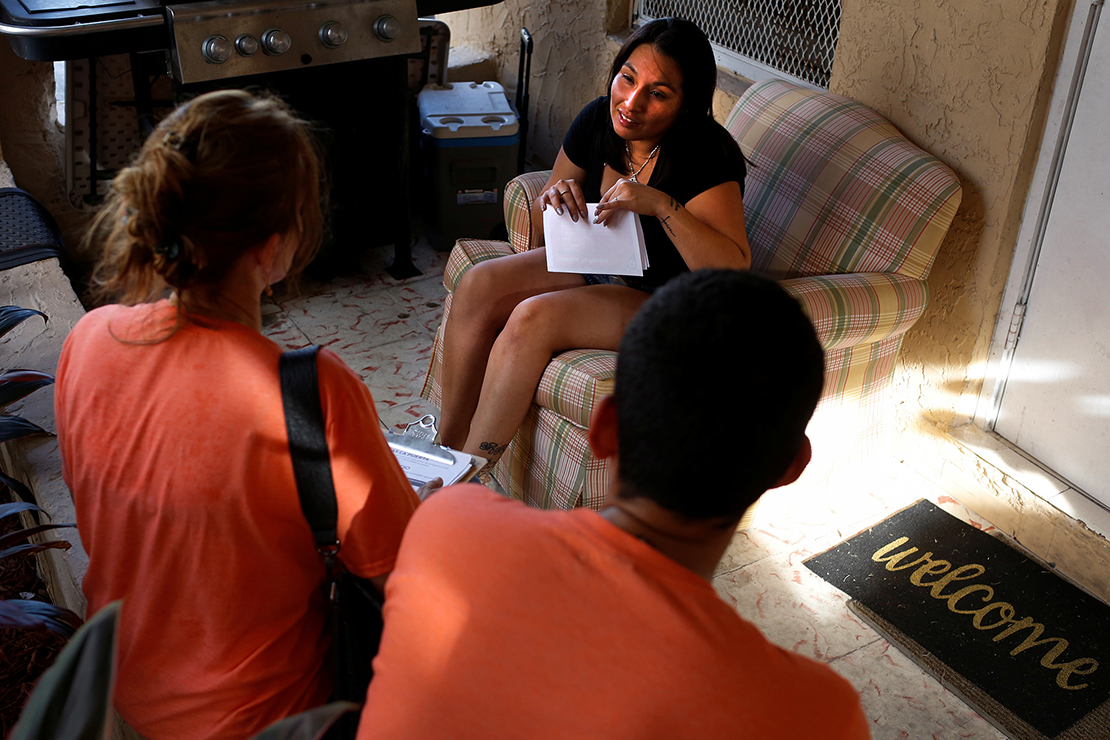 Immigration rights activists distributed pamphlets July 13 in Miami as communities braced for a reported wave of deportations across the United States by Immigration and Customs Enforcement officers.