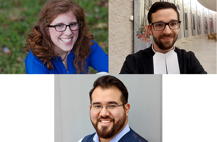 U.S. delegates to the meeting to set priorities for the Synod of Bishops in October; clockwise from top left; Katie Prejean-McGrady, De La Salle Christian Brother Javier Hansen and Nick Lopez.