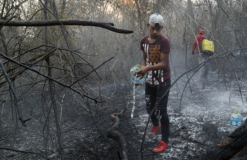 Volunteers extinguished a fire in Aguas Calientes near Robore, Bolivia, on Aug. 24. Farmers commonly set fires in this season to clear land for crops or livestock, but temperatures and winds can quickly whip flames out of control, and most communities lack firefighting equipment.