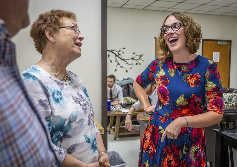 Pam Tholen, an alumna of St. Francis Borgia Regional Catholic School, laughed with her former teacher Kathy Hertlein at the school in Washington.