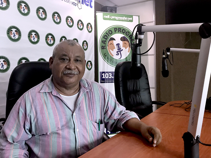 "Honduran Jesuit Father Ismael Moreno, better known as ""Padre Melo,"" is pictured at the Radio Progreso station in Progreso, Honduras, Aug. 25."