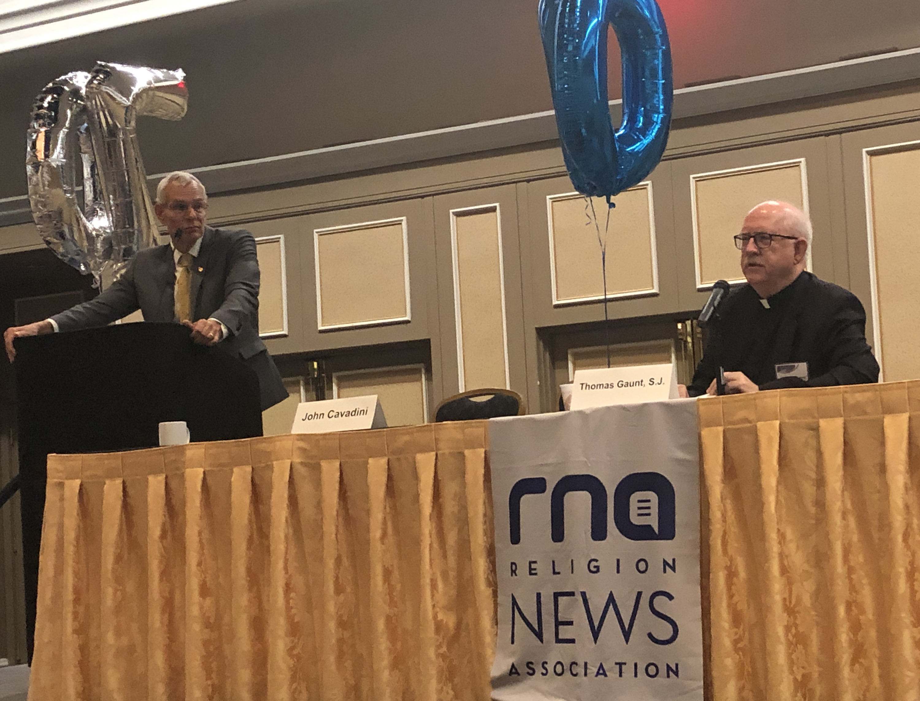 University of Notre Dame professor John Cavadini and Jesuit Father Thomas Gaunt of the Center for Applied Research in the Apostolate took questions from the audience Sept. 21, 2019, during the Religion News Association conference in Las Vegas. They presented findings of their groundbreaking study on sexual harassment in seminaries in the U.S