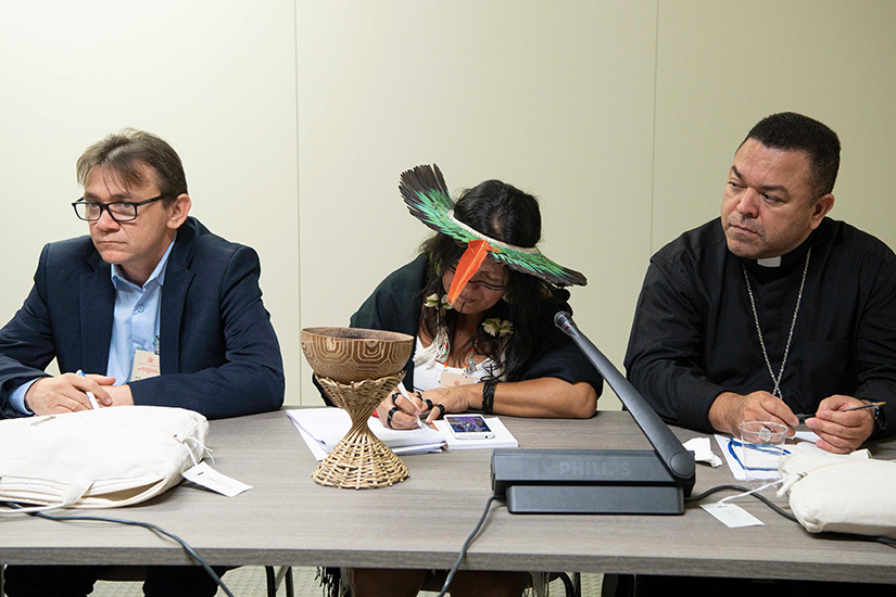 Members, observers and experts at the Synod of Bishops for the Amazon met in a small working group Oct. 10 in the Vatican synod hall. The small group reports, released Oct. 18, pledged the Church's support for the rights of indigenous people and a renewed commitment to safeguarding creation. Some groups also proposed the ordination of some married men to the priesthood and the development of official ministries for women in the Church.