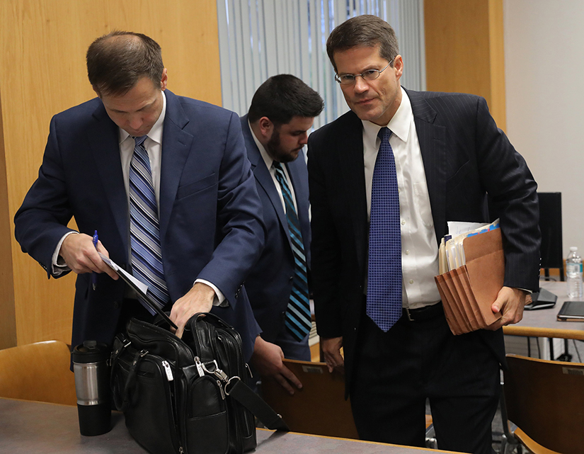 Assistant Missouri Attorney General John Sauer, right, packed up his materials on the fourth and final day of hearings between Planned Parenthood and Missouri Department of Health and Senior Services on whether Planned Parenthood can keep its abortion license on Thursday, Oct. 31 in St. Louis.