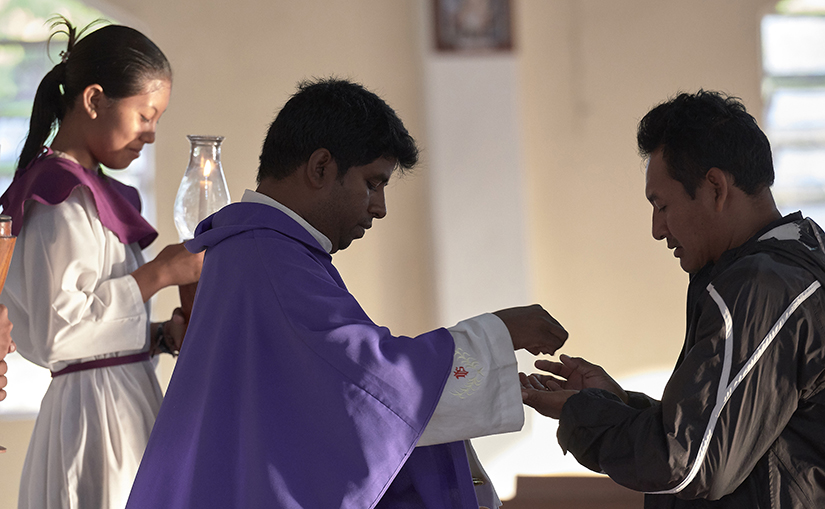 Father Edwin Anthony, a Jesuit missionary from India, celebrated Mass in St. Ignatius, Guyana. St. Ignatius is on the border with Brazil on the Rio Tacutu, which flows into Rio Negro, a tributary of the Amazon.