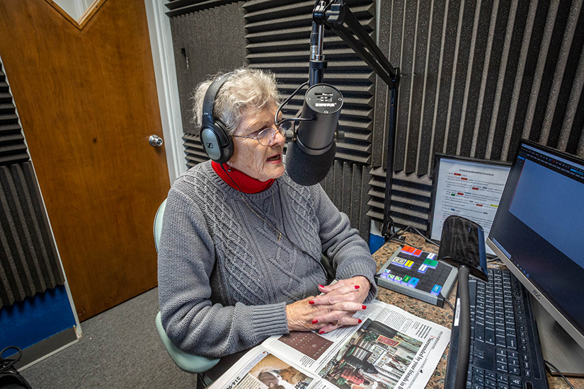 Catherine Vatterott volunteers at MindsEye Radio as a reader of Catholic news from sources such as the St. Louis Review. MindsEye Radio translates vision to audio as a virtual newsstand, connecting people with vision loss to the news and entertainment.