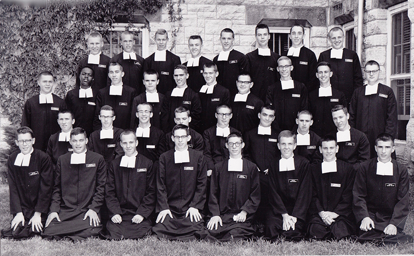 Brother James Miller, top row, third from right, is pictured with the class of 1962 who received their robes to become Christian Brothers. A native of Wisconsin, Brother Miller attended the junior novitiate at La Salle Institute in Glencoe, which is now La Salle Retreat Center.