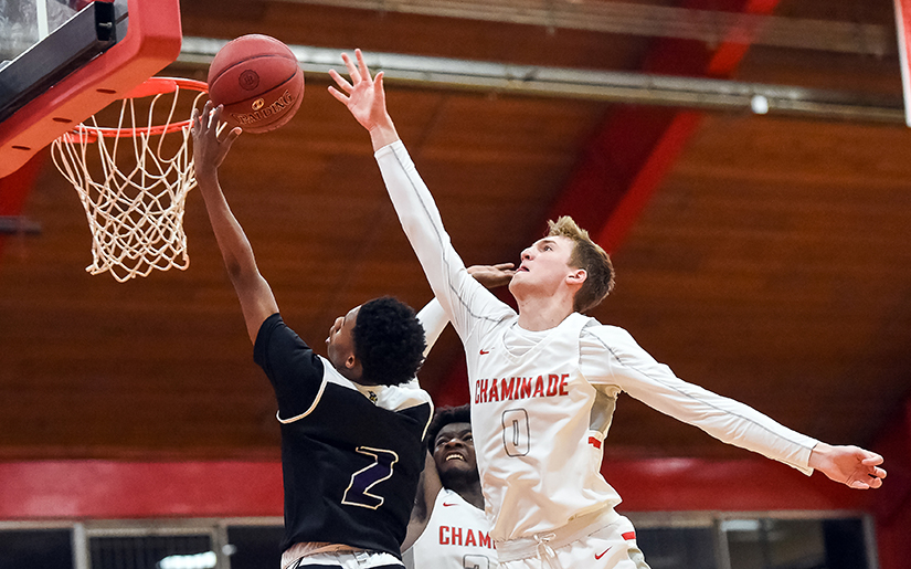 Chaminade's Luke Kasubke blocked a shot by Parkway North's Keashon Petty off the glass during the 48th Annual Chaminade Christmas Tournament in 2018.