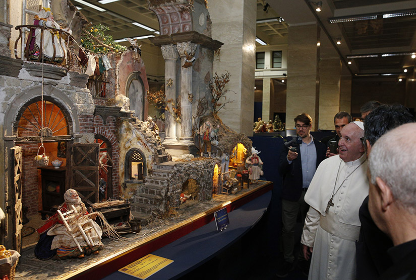 "Pope Francis visited the exhibit ""100 Nativity Scenes at the Vatican"" in Rome Dec. 9."