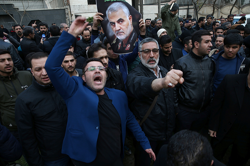 Demonstrators reacted Jan. 3 during a protest in front of U.N. offices in Tehran, Iran, after Iranian Maj. Gen. Qassem Soleimani was killed in a U.S. drone airstrike at Baghdad International Airport earlier that day.