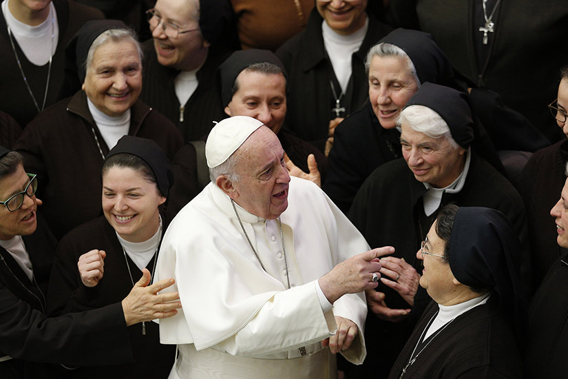 Pope Francis greeted nuns during his general audience in Paul VI hall at the Vatican Jan. 15.